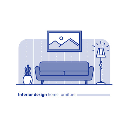 combination: Living room interior design, home furniture, sofa and floor lamp, picture frame and plant pot, minimalism style, simple couch, vector illustration