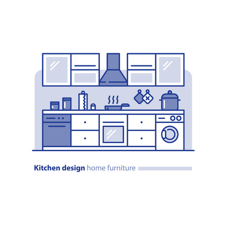 combination: Kitchen design solution, combination idea, home furniture, arrangement project, vector mono line illustration
