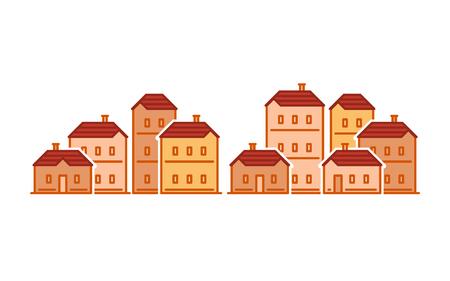 Onroerende goederen, woondistrict, flatgebouw, buurtconcept, groep huizen vector vlakke illustratie