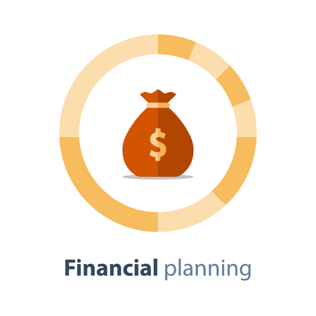 Budget planning, financial diversification, circle diagram, savings account, home finance, expenses concept, fund part, vector icon