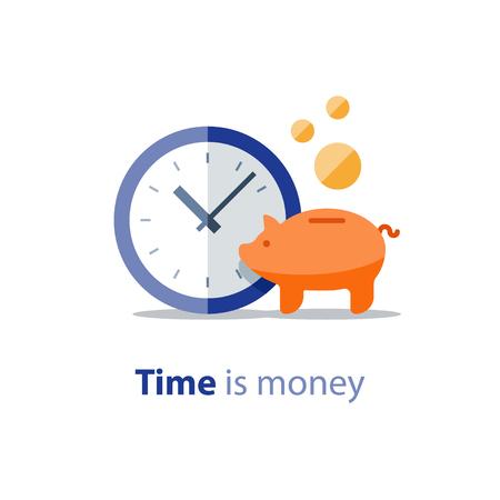 Finanzas domésticas, hucha, período financiero, icono del reloj, pago anual, crecimiento de los ingresos, retorno de la inversión, planificación del presupuesto, concepto de gastos, cuenta bancaria, ilustración vectorial Ilustración de vector