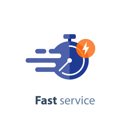 Fast time delivery icon, timely service, stopwatch in motion, deadline concept, vector flat illustration Imagens - 87713830