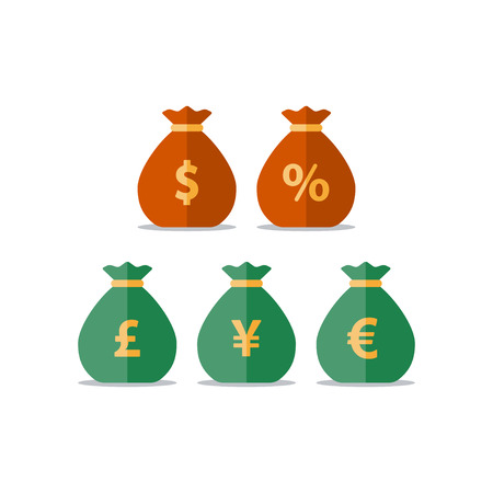 pay raise: Pound, yen, euro currency, dollar money bag, interest rate percentage sign, business and finance, return on investment, financial solution, prepayment and down payment concept, income tax, vector icon