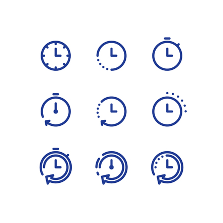 Fast time logo, stop watch symbol,  time period concept, working hours,  quick timely delivery, express and urgent services, deadline and delay, vector line icon set Illustration