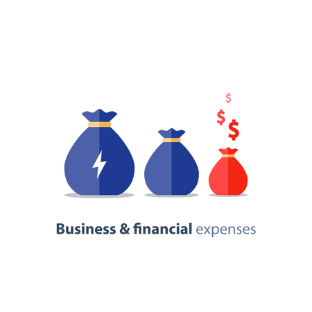 Budget deficit, finance shrinkage, income decrease, business devaluation, corporate expenses, financial burden, negative trend, vector icon, flat illustration