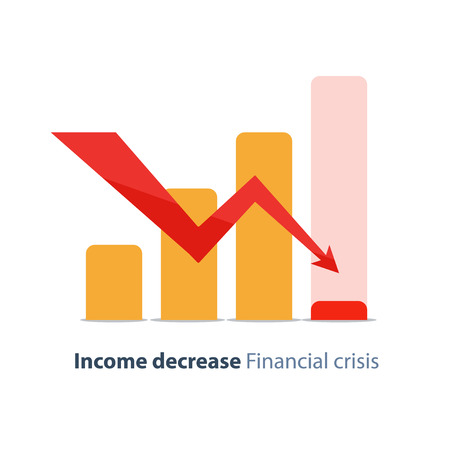 lowering: Income decrease graph, financial crisis rate, revenue decline chart, economy downturn, investment risk, fund management, budget deficit, vector illustration, flat icon