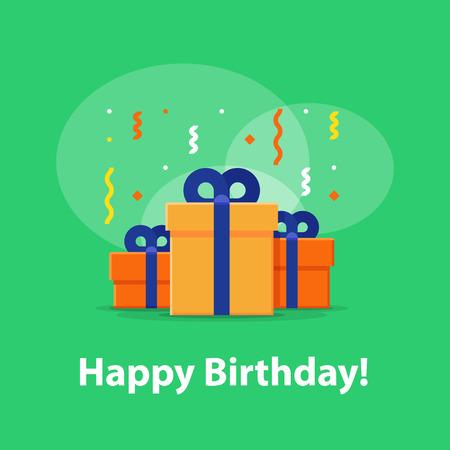 postcard box: Happy birthday celebration, anniversary invitation, group of three boxes, surprise gift with falling confetti, congratulations illustration, vector flat icon Illustration