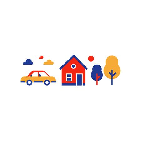 Zomerhuis, huis in de voorsteden met auto, platteland, vectorillustratie, vlak pictogram