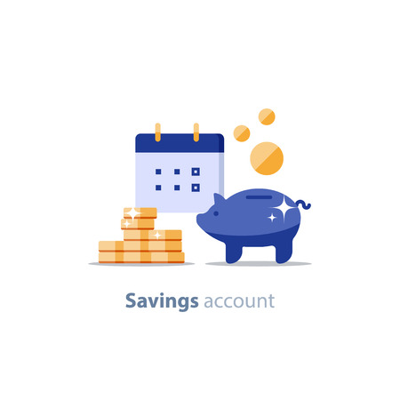 Future income, financial calendar, piggy bank annual dividends, return on investment, home budget planning, monthly payment day, pension fund savings, superannuation illustration, vector flat icon Vettoriali