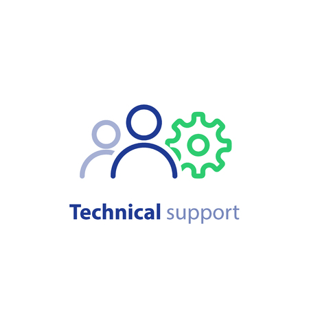 Tech support, engineering services, technology people, team work concept, vector line icon