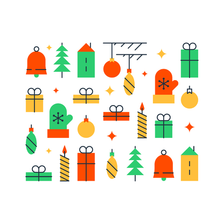 Winter holidays background, happy new year decoration element, Christmas ornament, festive backdrop, colorful pattern, vector illustration, flat icons