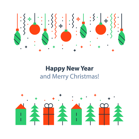 Happy New Year and Merry Christmas decoration elements, minimalist winter holidays background. Illustration