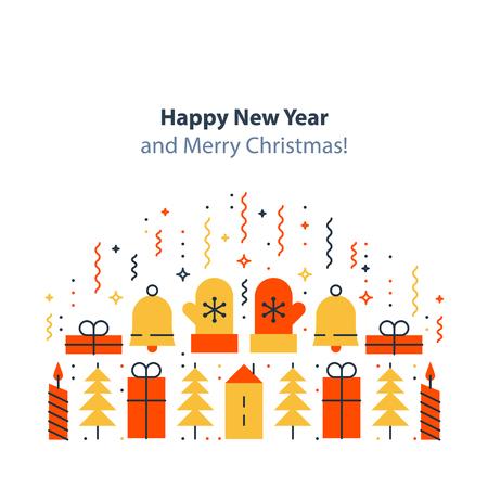 Happy new year and merry Christmas decoration elements, minimalist winter holidays background, festive backdrop, colorful postcard, celebration concept, flat design illustration