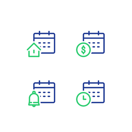 Finance calendar, time period, monthly payment, mortgage loan concept, real estate, bell reminder, vector line icon Illustration