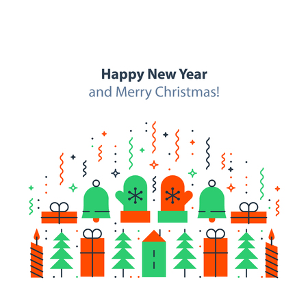 Happy New Year and Merry Christmas decoration elements.
