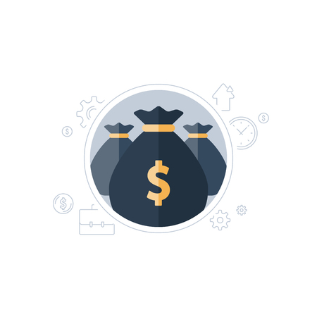 Banking services, financial strategy, return on investment, budget planning, money bag, income increase, pension fund, retirement savings accountancy, superannuation, finance loan, vector flat icon Vectores