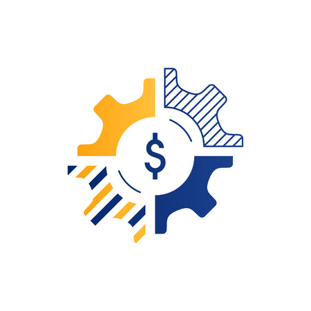 alteration: Technology business concept logo. Finances and investment strategy. Diversification icon. Flat design vector illustration