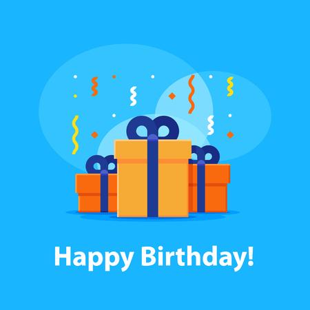 Happy birthday celebration, anniversary invitation, group of three boxes, surprise gift with falling confetti, congratulations illustration, vector flat icon Illustration