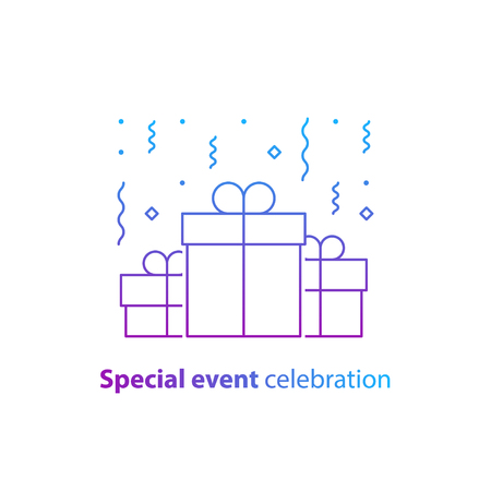 Happy birthday celebration, anniversary invitation, group of three boxes, surprise gift with falling confetti, congratulations illustration, vector line icon