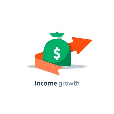 Flecha de crecimiento de ingresos, servicios bancarios, gestión financiera, retorno de la inversión, planificación presupuestaria, fondo mutuo, cuenta de ahorros de pensiones, tasa de interés, recaudación de fondos, icono plano de dinero bolsa vector