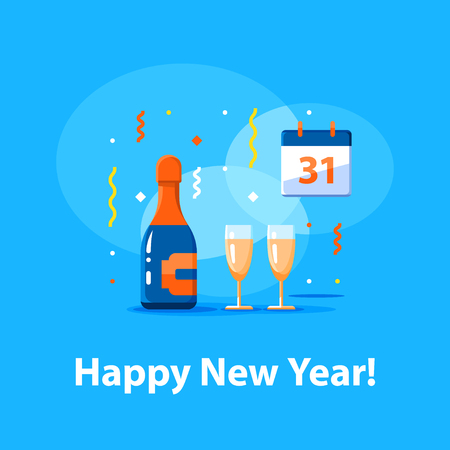 Happy new year celebration, night party, bottle of champagne and two glasses, calendar with number 31, blue background with falling confetti, vector illustration, flat icon Illustration