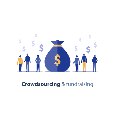 Crowd sourcing and fundraising concept, start up business opportunity, corporate finance, group of people, financial conference, vector icon, flat illustration