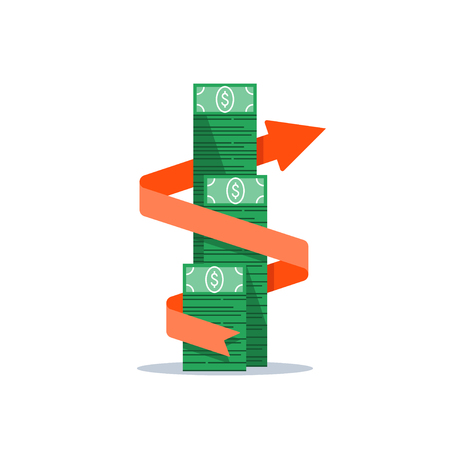 Flèche de croissance des revenus, gestion financière, retour sur investissement, dépenses budgétaires, fonds communs de placement, compte d'épargne bancaire, taux d'intérêt, collecte de fonds, pile de billets d'argent, icône plate de vecteur bundle dollar