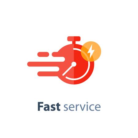 Icône de livraison de temps rapide, service en temps opportun, chronomètre en mouvement, notion de délai, illustration plate vectorielle