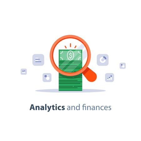 Finanzanalyse-Service, Geschäftsplanung, Marktforschung, Fondsmanagement, Umsatzverbesserung, Return on Investment, Umsatzsteigerung, Buchhaltungsanfrage, Einnahmen und Ausgaben, flache Vektorikone