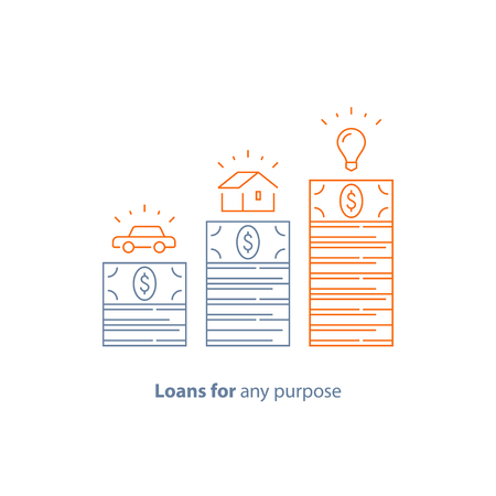 Mortgage loan, car credit, money for any purpose, down payment, budget for purchase, vector line icon thin stroke Illustration