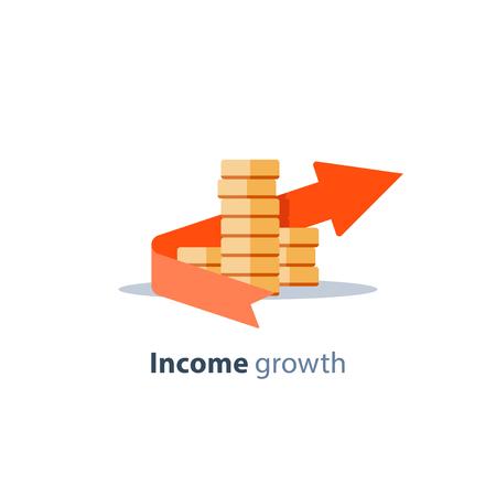 Freccia di crescita del reddito, concetto di dividendi, gestione finanziaria, ritorno sull'investimento, pianificazione del bilancio, fondo comune, conto di risparmio pensionistico, tasso di interesse, raccolta fondi, icona piana di vettore delle monete dello stack Archivio Fotografico - 90055319
