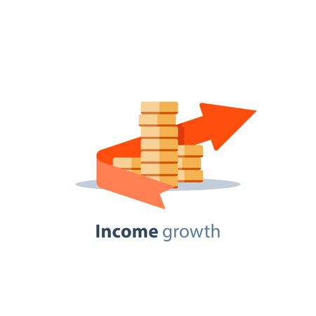 Income growth arrow, dividends concept, financial management, return on investment, budget planning, mutual fund, pension savings account, interest rate, fund raising, coins stack vector flat icon Vettoriali