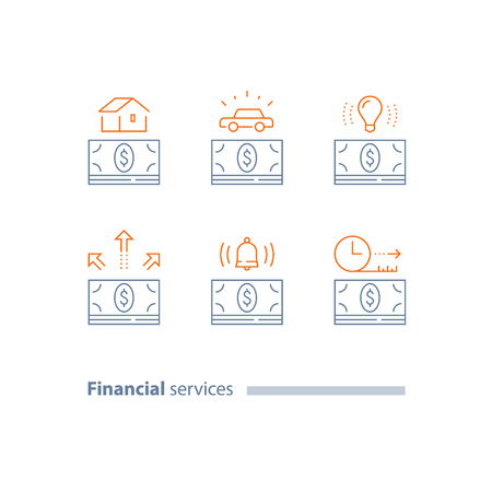 Mortgage loan, buy house, car credit, vehicle purchase, money bundle, installment concept, finance service, down payment, time period, vector line icon set, thin stroke Illustration