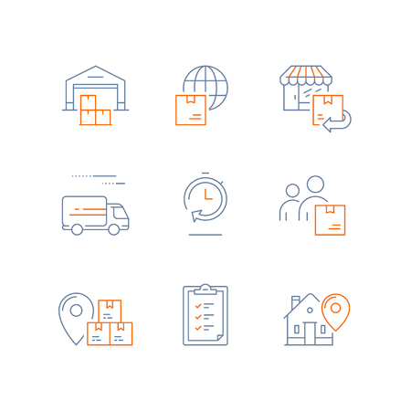 Supply chain related line icons Illustration