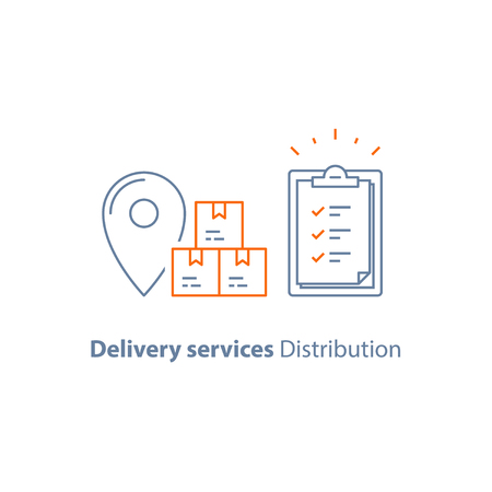Delivery services distribution line icon vector Stock Illustratie