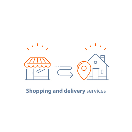 Shopping and delivery services line icon vector Illustration