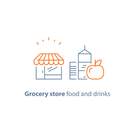 Grocery store food and drinks vector icon, flat illustration