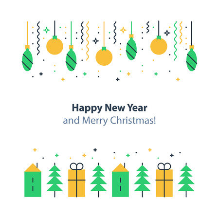 Happy new year and merry Christmas decoration elements, minimalist winter holidays background flat design vector illustration