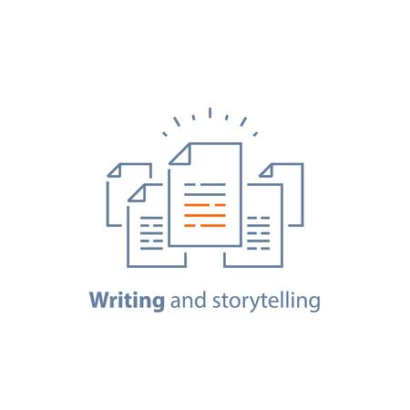 Contractvoorwaarden, documentpapier, creatief schrijven, verhalen vertellen, korte samenvatting lezen, opdracht, vector lijn pictogram, dunne lijn illustratie