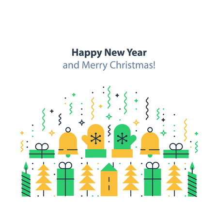 Happy new year and merry Christmas decoration elements, minimalist winter holidays background, festive backdrop, colorful postcard, celebration concept, flat design illustration