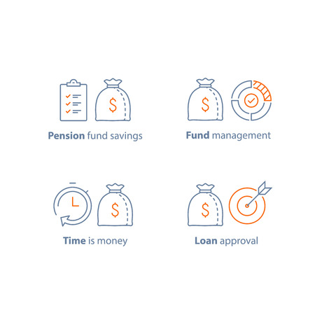 Mutual fund management, long term investment, financial strategy, finance solution, income increase, dividend payment, loan approval, accountancy service, pension savings, vector line icon thin stroke