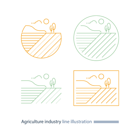 Agriculture field line icon, countryside landscape, furrow, vector thin stroke illustration