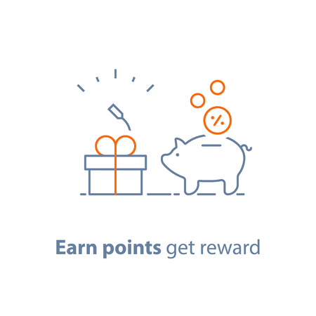 Earn points and get reward, loyalty program, marketing concept, piggy bank with coins and small gift box, charity donation, vector line icon, thin stroke illustration Vettoriali
