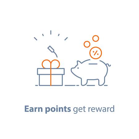 Verdienen Sie Punkte und erhalten Sie Belohnung, Treueprogramm, Marketingkonzept, Sparschwein mit Münzen und kleiner Geschenkbox, Wohltätigkeitsspende, Vektorlinie Ikone, dünne Anschlagillustration
