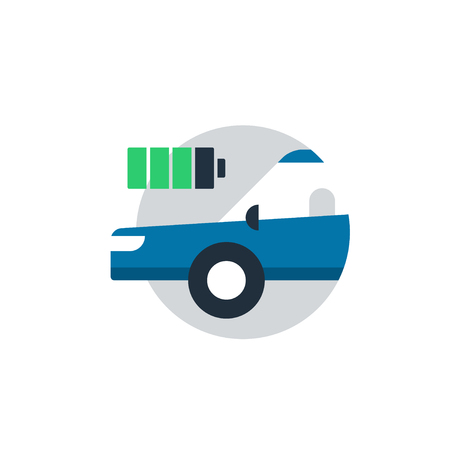 Blue car in a circle with battery. Auto car diagnostic services, electric transport concept, charge battery station. Flat design vector illustration Vectores