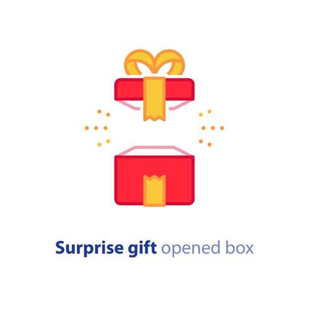 깜짝 선물 아이콘, 노란 리본, 최고의 선물, 슈퍼 상금 개념, 특별 행사 축하, 생일 선물, 벡터 평면 디자인 일러스트를 받고 빨간색 상자를 열었습니다