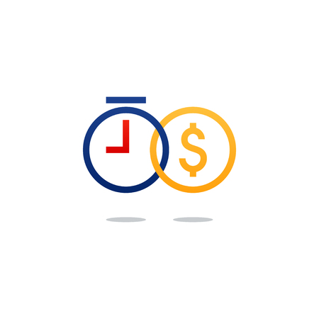 Business and finance concept icon. Time and money investment. Flat design vector illustration. Vectores