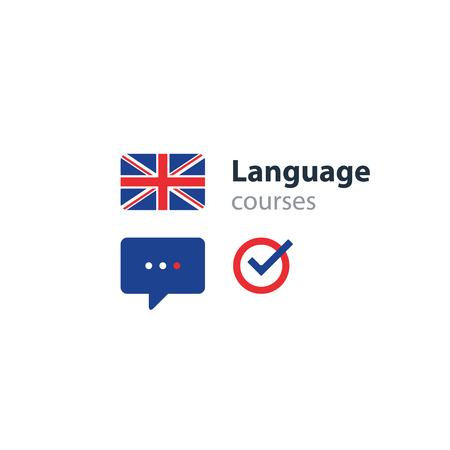 British english language class concept icon set and flag , language exchange program, forum and international communication sign. Flat design vector illustration