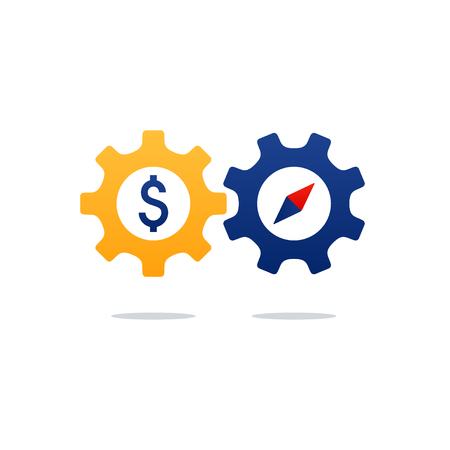 Business and finance concept icon, time and money investment gear wheel and cogwheel. Flat design vector illustration Illustration