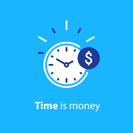 Time is money concept, clock and coin, long term financial investment, superannuation savings, future income, annual revenue, money profit and benefit.
